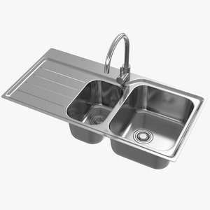 3D realistic kitchen sink 03 model
