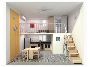 single compact apartment 3D model