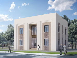 3D small office building neoclassical