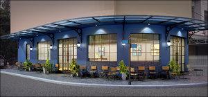 corner coffee shop 3D model