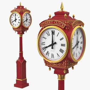 city street clock red 3D model