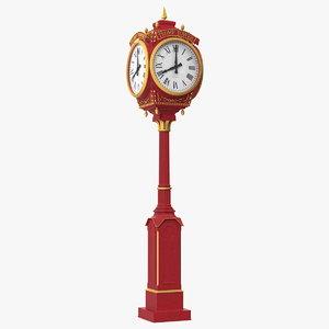 3D model trump tower clock red