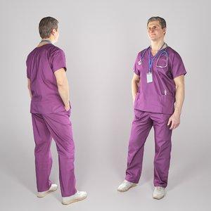 middle-aged man uniform surgeon 3D model