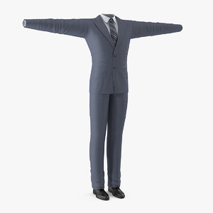 3D mans formal grey suit