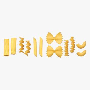 raw pasta macaroni rigatoni 3D model