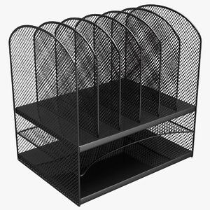 black mesh tray desktop 3D model