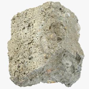 3D model broken concrete piece 12