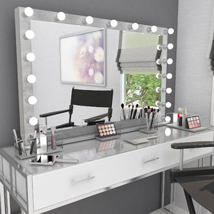 grey velvet make mirror 3D model