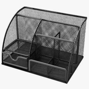 3D black mesh desk organizer model