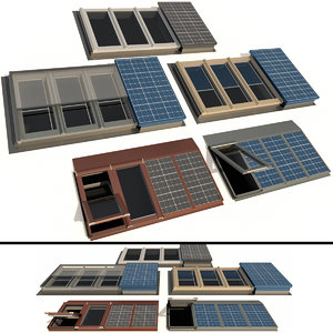 skylights solar panels windows 3D model