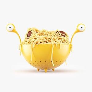 flying spaghetti monster noodles 3D model