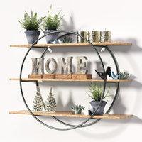 Round metal frame shelf with Decorative se