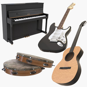 music instruments guitar piano 3D model