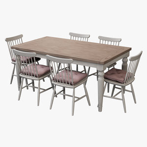 3D realistic dining table set model