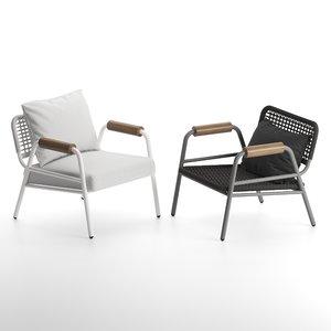 armchair meridiani zoe wood 3D