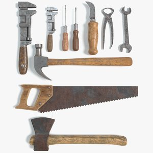3D vintage tools axe hammer model
