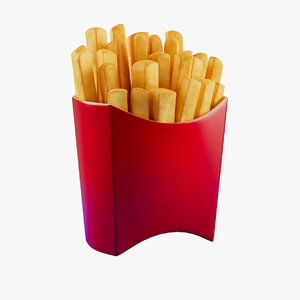 3D cartoon french fries