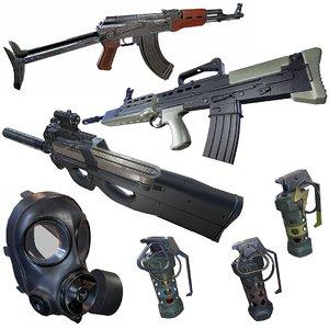 3D fn p90 sa80 grenade