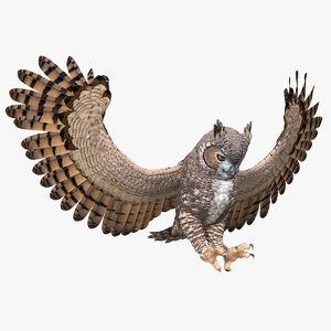great horned owl attacking 3D model