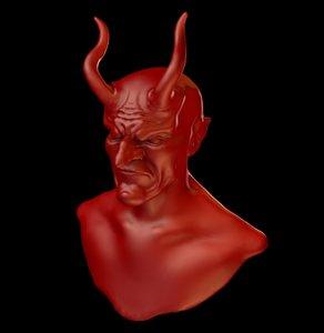 3D devil head torso model