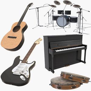 3D music instruments guitar piano model