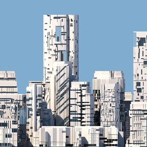 futuristic sci-fi buildings model