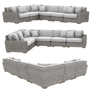 sofa biarritz modular l-sectional 3D model