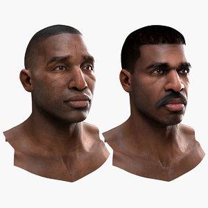 3D human heads black males model