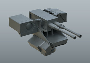 3D model cannon double 05