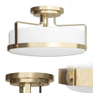 3D denice 3-light semi flush model