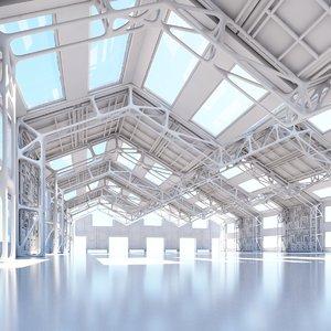 futuristic architectural interior 3D model