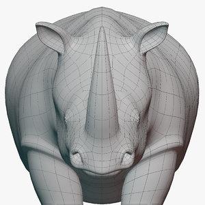 3D rigged rhinoceros base mesh