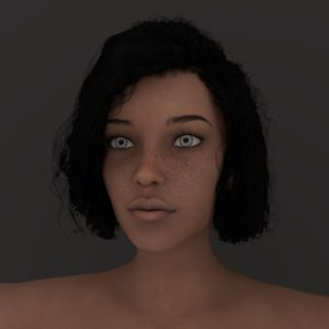 rig female character face model