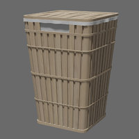 Wicker basket Laundry And Trash Can 3D model