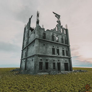 destroyed building 3D model