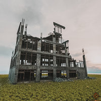 DESTROYED BUILDING ABANDONED POST APOCALYPSE