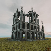 DESTROYED BUILDING OLD POST APOCALYPSE PBR REALISTIC ABANDONED