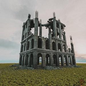 3D destroyed building pbr