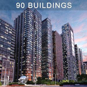 skyscrapers apartments condominium 3D model