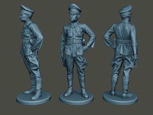 german officer ww2 stand 3D