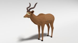 3D greater kudu antelope