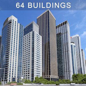 buildings skyscrapers 3d max