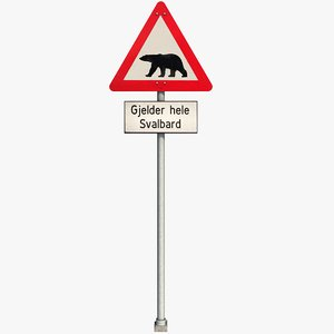 polar bear warning sign 3D