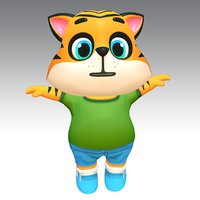 Tiger Cat Animated Rigged