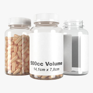 pills bottle 500cc type3 3D