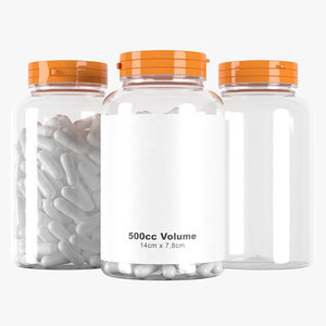 3D pills jar 500cc