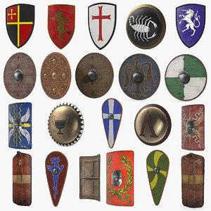 medieval shields 2 3D model