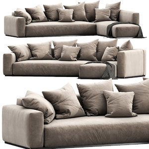 flexform lario chaise lounge 3D model