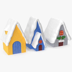 3D model christmas houses decorative figures