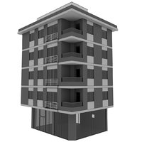 Simple Building; 4-Storey, Low-Poly, Classic Building Model with Terrace and Store